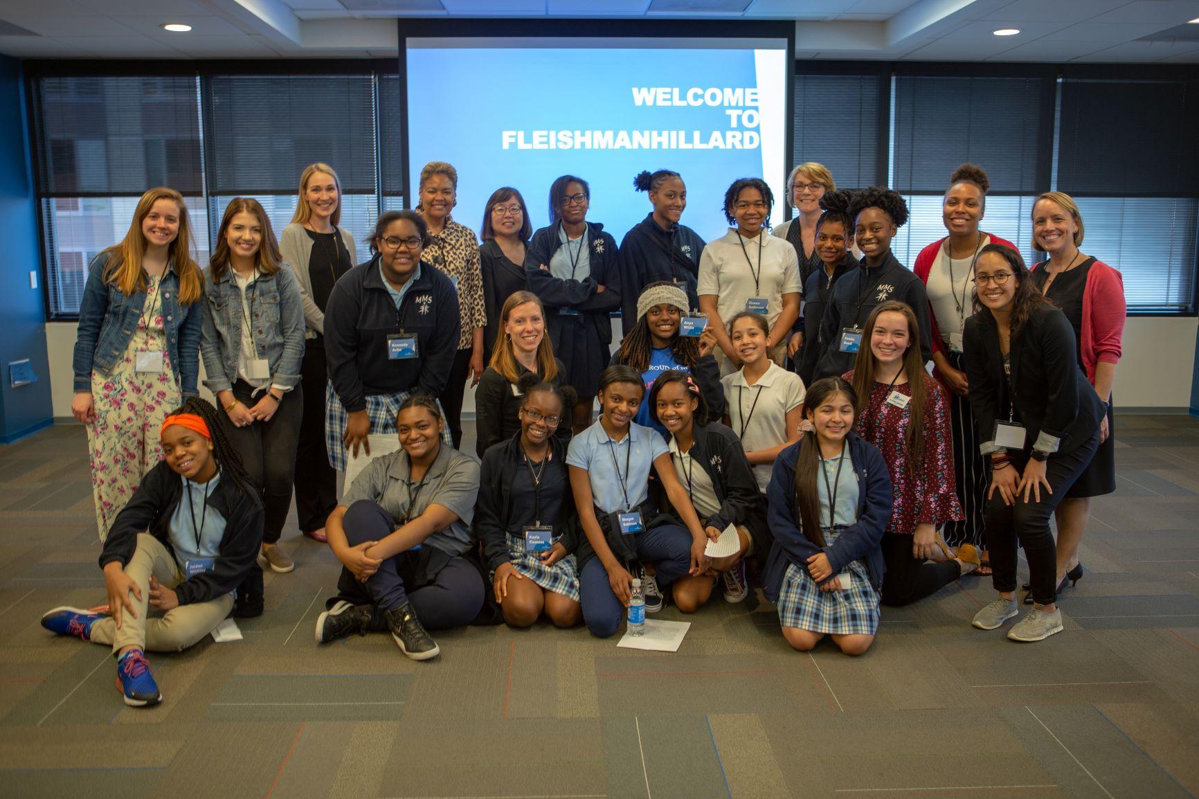 FleishmanHillard FH4Inclusion team with Marian Middle School students.